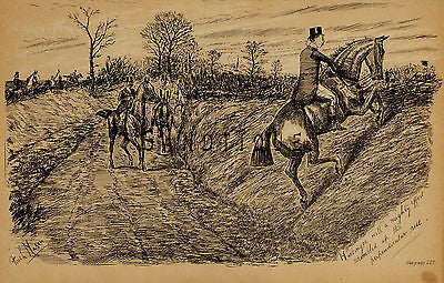 """Fores's Sporting Notes & Sketches"" - ""SCRAMBLED UP THE RISE"" - Litho - 1886 - Sandtique-Rare-Prints and Maps"