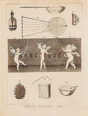 "CALMET'S BIBLE - ""MUSICAL INSTRUMENTS"" (DRUMS) - Engraving - 1801"