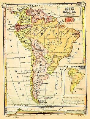 "Monteith's Antique Map - ""SOUTH AMERICA""  Chromolithograph - 1884"