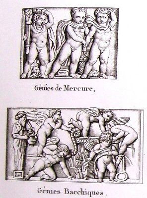"""Musee des Antiques"" -1811- GENIE & VICTORY BAS-RELIEF"