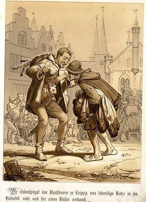 """Till Eulenspiegel"" Folklore Chromolithograph -1856- TILL  WITH RABBIT FOR SALE - Sandtique-Rare-Prints and Maps"