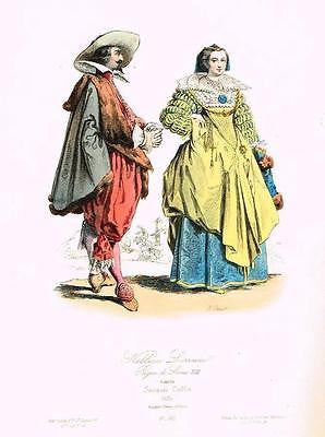 "Pauquet's Modes - ""NOBLESSE LORRAINE"" - Hand-Colored Litho -1864"