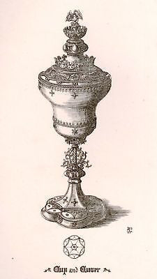 A. Pugin's Litho Gold Designs -1830- FANCY CUP & COVER - Sandtique-Rare-Prints and Maps
