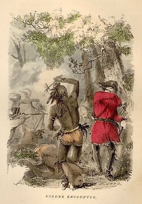 Brownell's Indian Races -Hand Colored -1853- BORDER ENCOUNTER