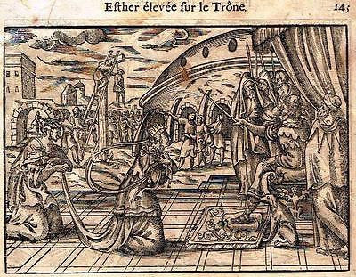 Leclerc's Bible  Woodcut - ESTER ELEVATED TO THE THRONE - 1614