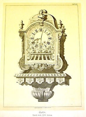 Art Furniture Litho -1880-  FRENCH 17 th CENTURY CLOCK - Antique Print