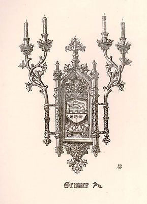 A. Pugin's Litho Gold & Silver Designs -1830- SCONCE - Sandtique-Rare-Prints and Maps