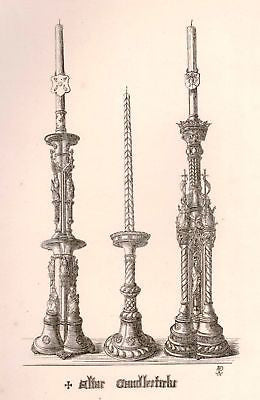A. Pugin's Litho Gold Design -1830- ALTAR CANDLESTICKS - Sandtique-Rare-Prints and Maps