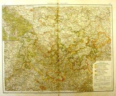 Andree's Atlas, Chromo -1893-  THURINGER STATES - Sandtique-Rare-Prints and Maps