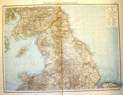 Andree's Atlas, Chromo -1893- ENGLAND & WALES - NORTH - Sandtique-Rare-Prints and Maps