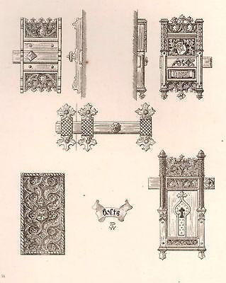 A. Pugin's Litho Iron & Brass Design -1835- METAL BOLTS - Sandtique-Rare-Prints and Maps