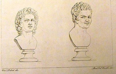 Musee de Sculpture - Copper Engraving - 1826 - CURLY HEAD BUSTS