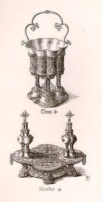 A. Pugin's Litho Silver & Gold Design-1830- ALTAR DISH - Sandtique-Rare-Prints and Maps