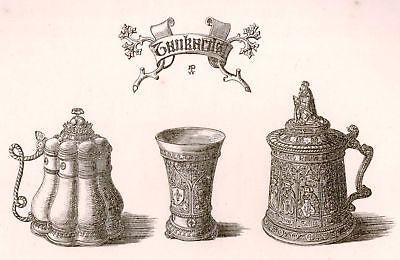 A. Pugin's Litho Gold & Silver Designs -1830- TANKARDS - Sandtique-Rare-Prints and Maps