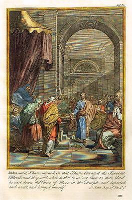 "Burkitt's Expository - ""JUDAS CASTS DOWN PIECES OF SILVER"" - H/Col. Eng. - 1752"