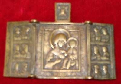 Antique Russian Icon   MADONNA AND CHILD  Rare Small Bronze Triptych  Circa 1750
