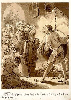 """Till Eulenspiegel"" Folklore Chromolithograph -1856-  TILL WITH BIG COOKING POT - Sandtique-Rare-Prints and Maps"