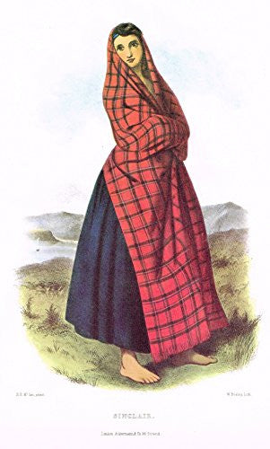 "Clans & Tartans of Scotland by McIan - ""SINCLAIR"" - Lithograph -1988"