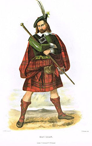 "Clans & Tartans of Scotland by McIan - ""MACLEAN"" - Lithograph -1988"