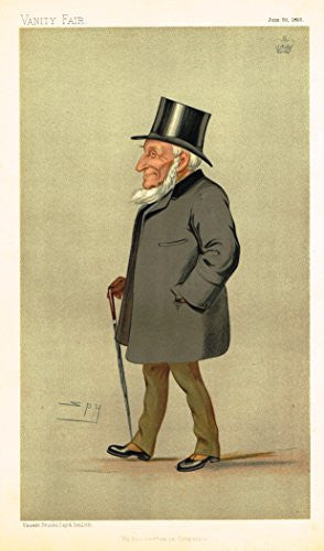 "Vanity Fair Characiture - ""HE HAS WRITTEN ON COMPANIES"" - SPY - Large Chromolithograph - 1893"