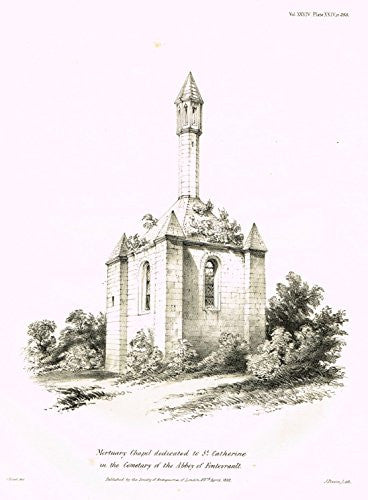 Archaeologia's Antiquity - MORTUARY CHAPEL DEDICATED TO ST. CATHERINE - Engraving - 1852