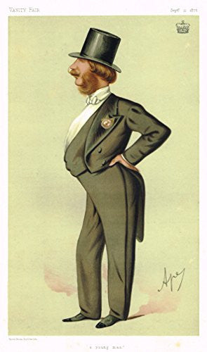 "Vanity Fair Characiture - ""A YOUNG MAN"" - APEY - Large Chromolithograph - 1875"