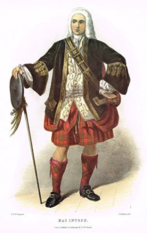 "Clans & Tartans of Scotland by McIan - ""MACINTOSH"" - Lithograph -1988"