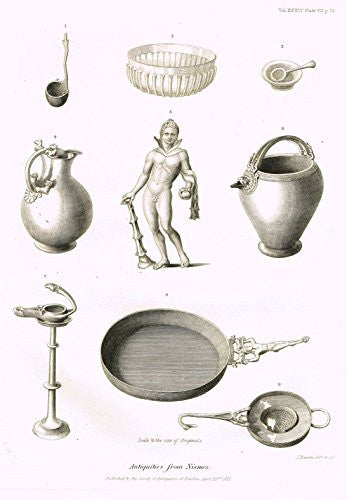 Archaeologia's Antiquity - ANTIQUITIES FROM NISMES - Engraving - 1852