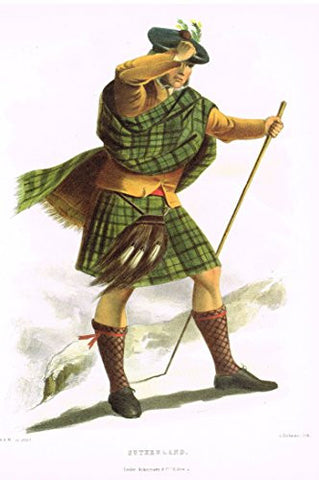 "Clans & Tartans of Scotland by McIan - ""SUTHERLAND"" - Lithograph -1988"
