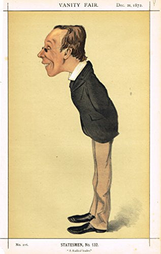 "Vanity Fair Characiture - ""A RADICAL LEADER"" - (STATESMAN #132) - Large Chromolithograph - 1872"