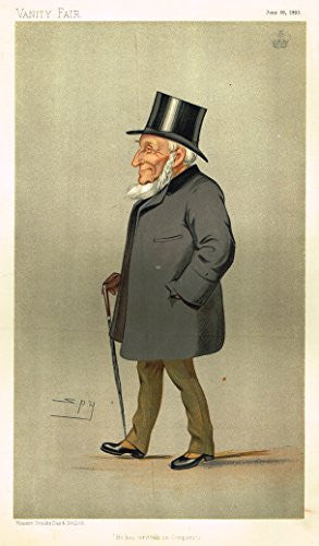 Vanity Fair SPY Portrait - HE HAS WRITTEN ON COMPANIES - Large Chromolithograph - 1893