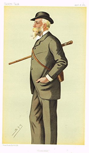 Vanity Fair SPY Caricature - CORNWALL (MR. E. BRUDGES-WILLIAMS) - Chromolithograph - 1895