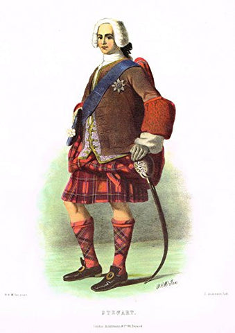 "Clans & Tartans of Scotland by McIan - ""STEWART"" - Lithograph -1988"