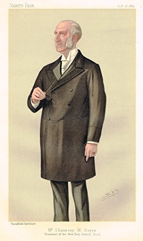 "Vanity Fair ""SPY"" - ""MR. CHAUNCEY M. DEPEW"" PRESIDENT OF THE NEW YORK CENTRAL ROAD - Chromo - 1895"