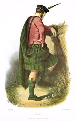 "Clans & Tartans of Scotland by McIan - ""GUNN"" - Lithograph -1988"