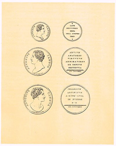 "Cicognara's Works of Canova - ""3 COINS - ARTIUM AMATORES"" - Heliotype - 1876"