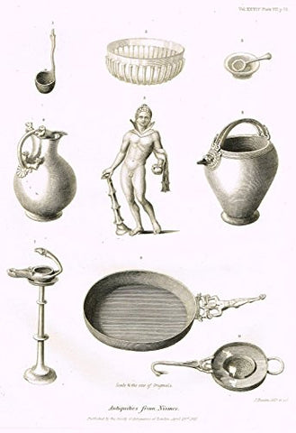 "Archaeologia's Antiquity - ""ANTIQUITIES FROM NISMES"" - Engraving - 1852"