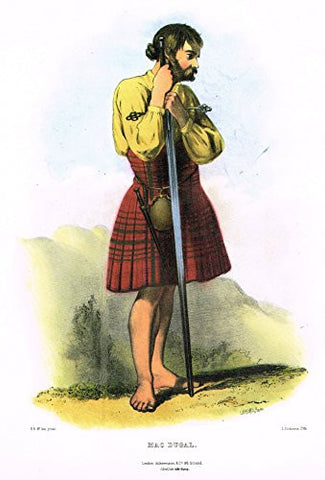 "Clans & Tartans of Scotland by McIan - ""MACDUGAL"" - Lithograph -1988"