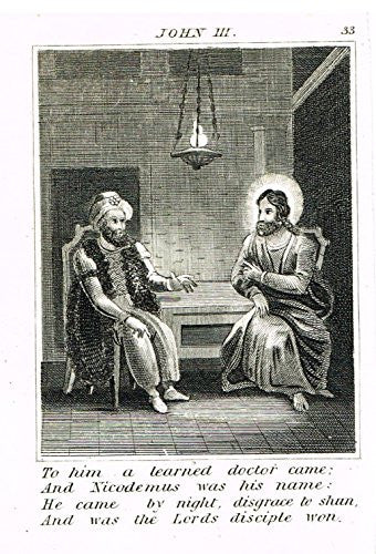 "Miller's Scripture History - ""NICODEMUS VISITS JESUS"" - Small Religious Copper Engraving - 1839"
