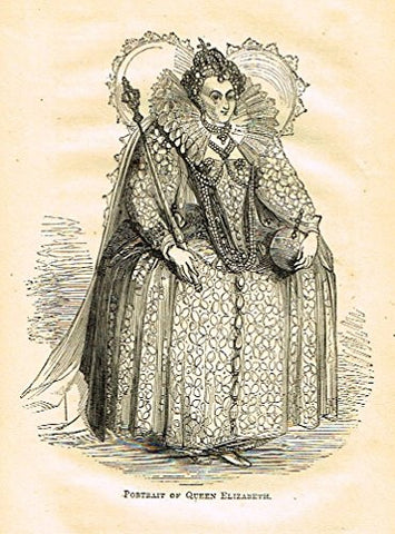 "Abott's Queen Elizabeth - ""PORTRAIT OF QUEEN ELIZABETH"" - Wood Engraving - 1869 - Sandtique-Rare-Prints and Maps"
