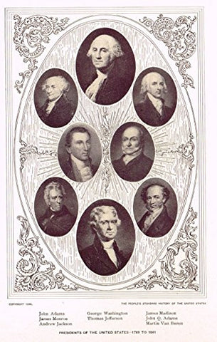 History of Our Country - PRESIDENTS OF THE UNITED STATES - 1789 TO 1841 - Lithograph - 1899