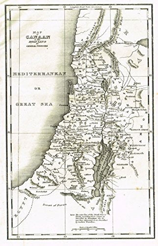 "Religious Map - ""CANAAN or the HOLY LAND"" - Copper Engraving - c1820"
