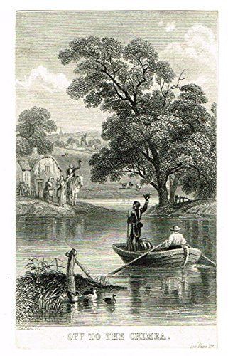 Miniature Print - OFF TO THE CRIMEA - Engraving - c1850