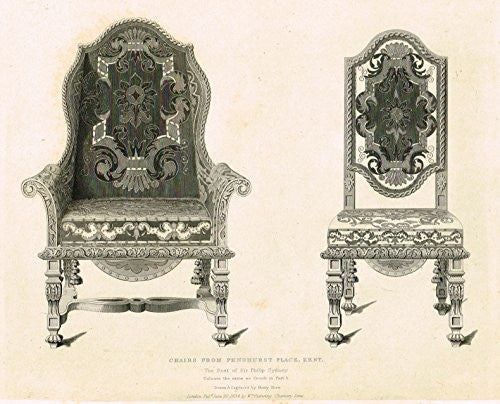 "Shaw's Furniture - ""CHAIRS FROM PENSHURST PLACE, KENT"" - Engraving - 1836"