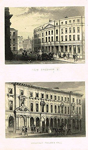 "Tallis's London - ""NEW GRESHAM ST. & MERCHANT TAILOR'S HALL"" - Steel Engraving - 1851"