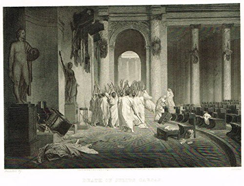 "Duyckinck's History - ""DEATH OF JULIUS CAESAR"" - Steel Engraving - 1869"