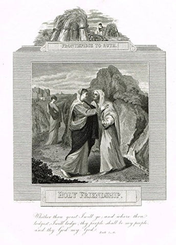 "Blomfield's Impartial Expsitor & Bible - ""FRONTISPIECE - HOLY FRIENDSHIP"" - Engraving - 1815"