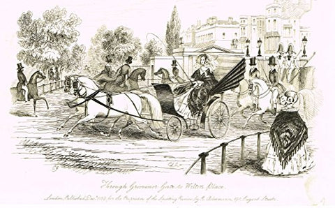 "Sporting Review's - ""THROUGH GROSVENOR GATE TO WILTON PLACE"" - Copper Engraving - 1839"