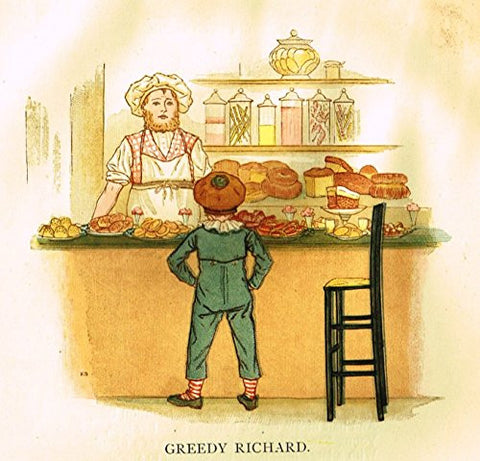 Kate Greenaway's Little Ann - GREEDY RICHARD - Chromolithograph - 1883