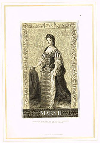 "Archer's Royal Portrait Pictures - ""MARY II"" - Tinted Engraving - 1880"